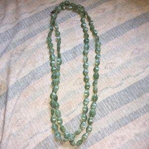 Long beaded jade necklace